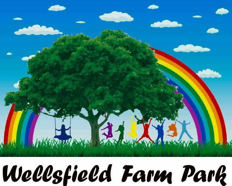 wellsfield farm park logo with rainbow and childrens silhouettes playing under a tree
