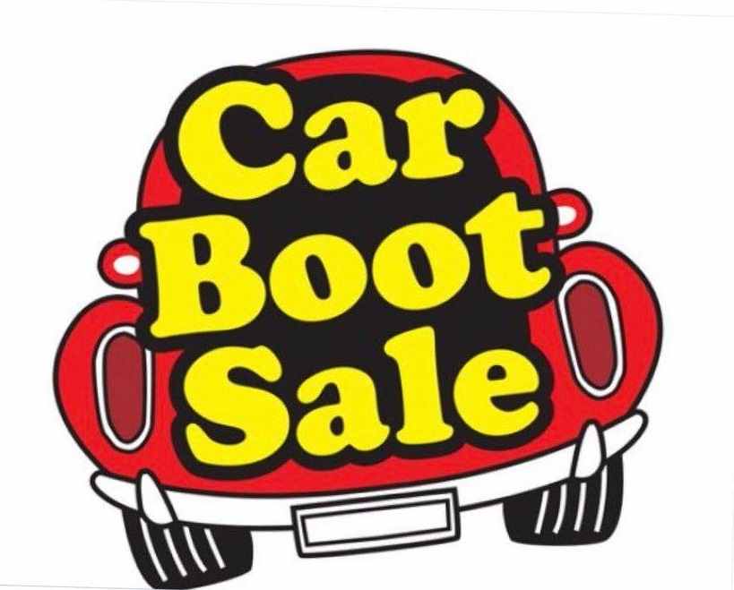 picture of cartoon red car with the words car boot sale on it in yellow text