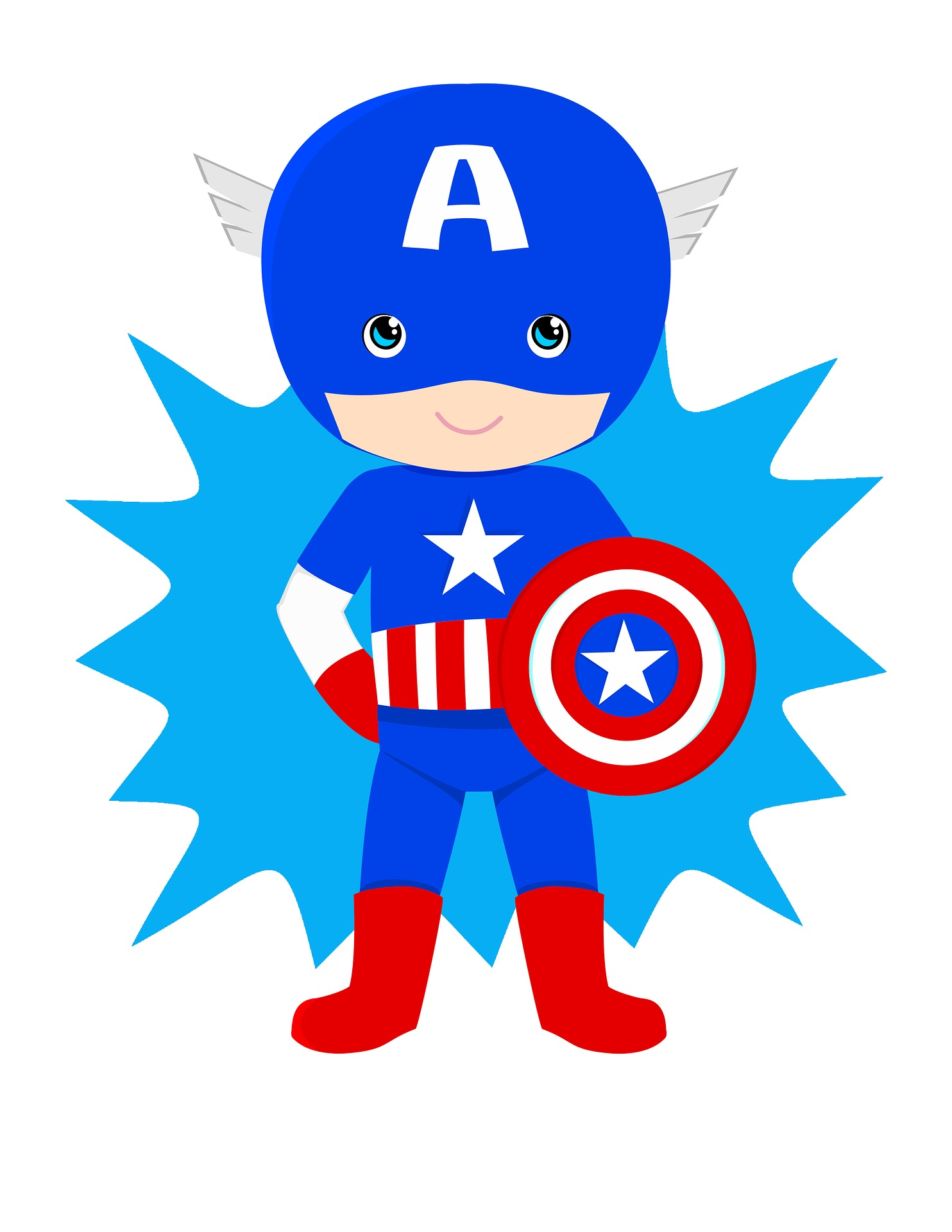 Cartoon of Captain America Character wearing a blue and red superhero outfit