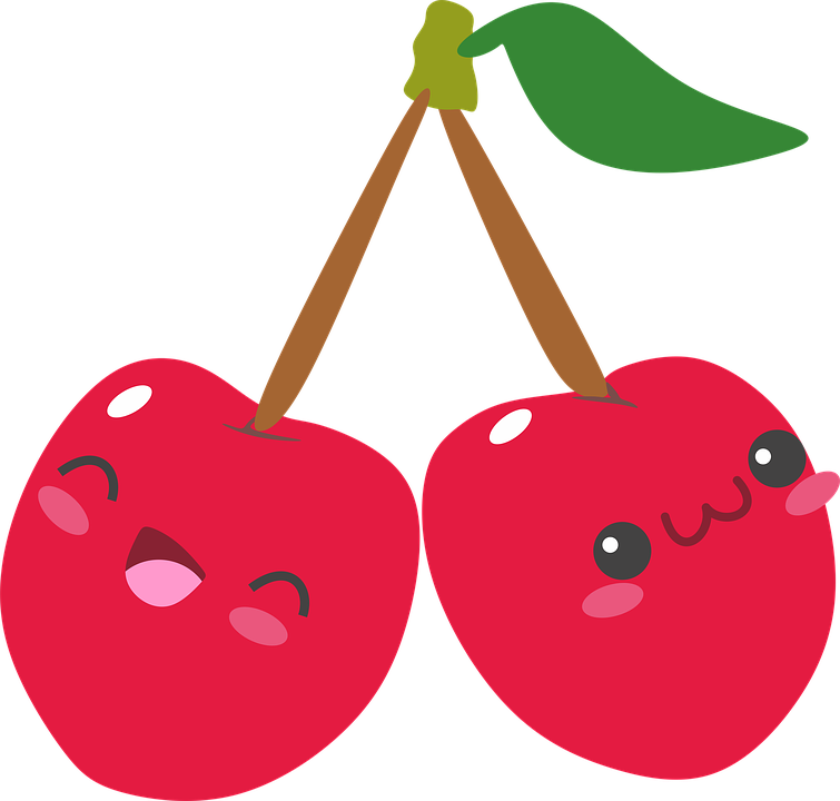 cartoon of cherries with smiley faces