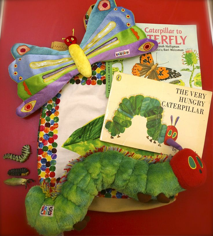The hungry caterpillar book, with a soft toy of the caterpillar and a soft toy of a butterfly next to it