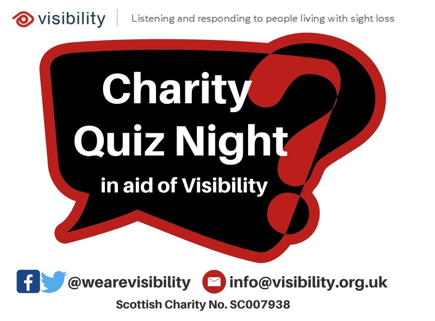 """image has a speech bubble and a question mark with text which reads """"charity quiz night in aid of Visibility"""""""