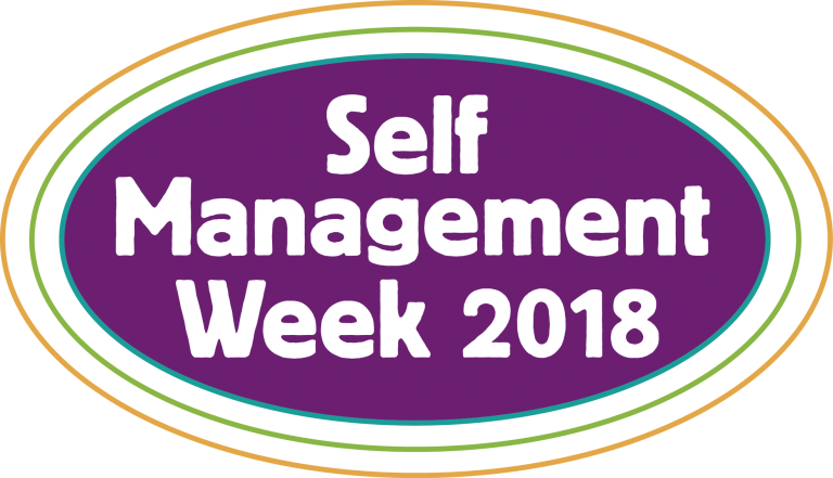 "a purple oval which has white text on it that reads ""self management week 2018"""
