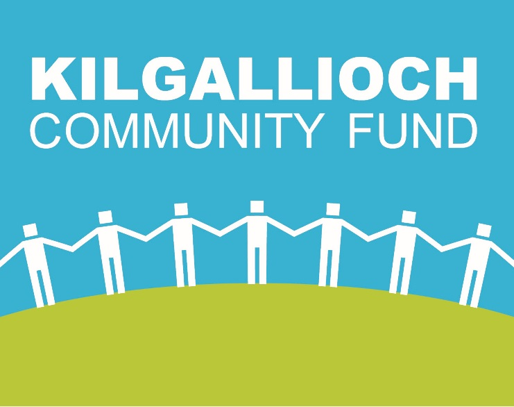 The image shows the logo of the Kilgallioch Community Fund with the words in a bold sans serif font above a green hill with white figures standing hand in hand on top of it