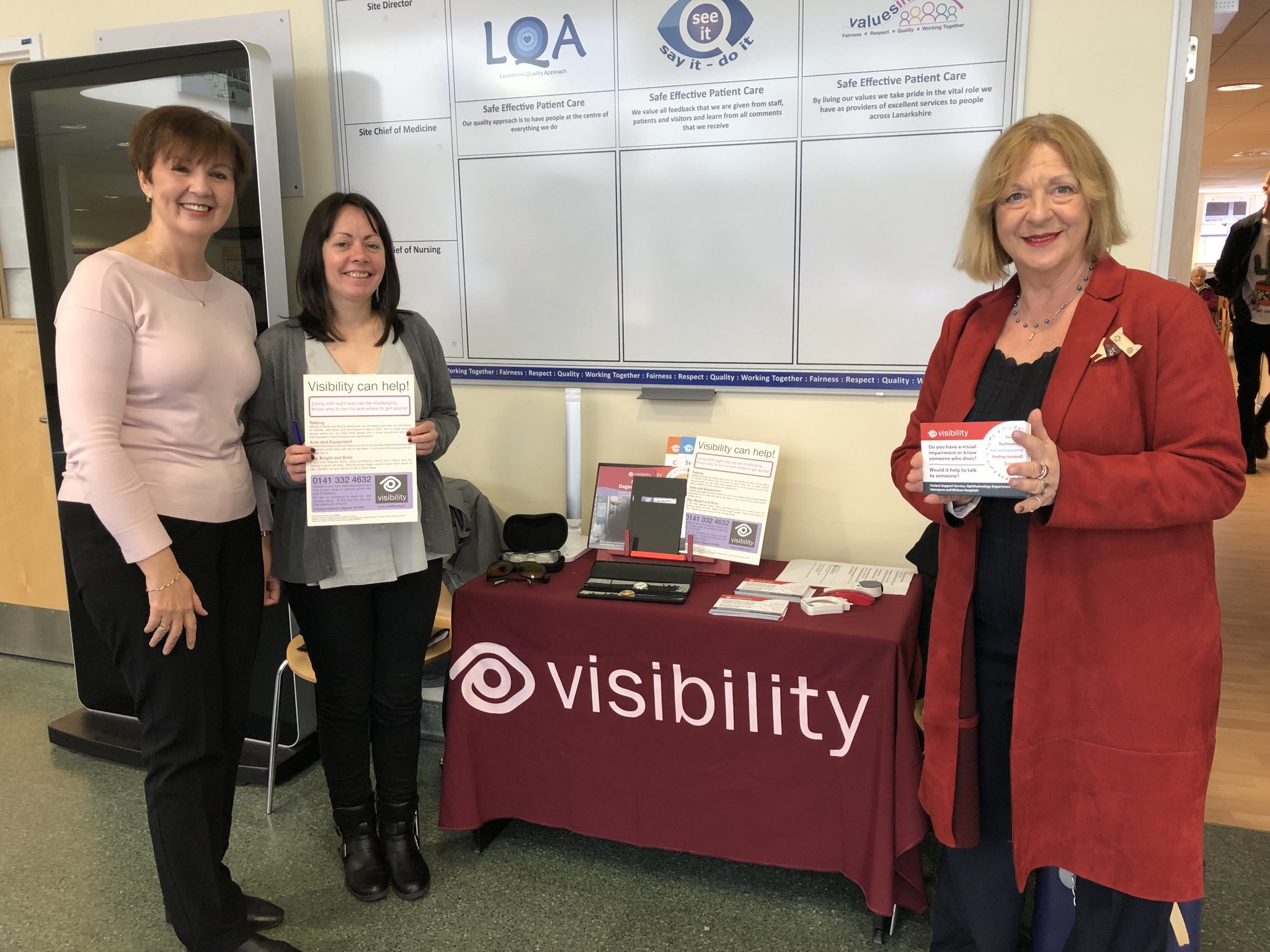 Lianne & Elizabeth, pictured with East Kilbride MSP Linda Fabiani will be helping people living with sight loss across Lanarkshire
