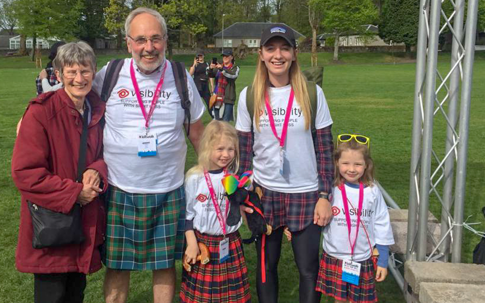 A family ready to go on the Kiltwalk.